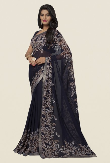 Ishin Black Faux Georgette Printed Saree