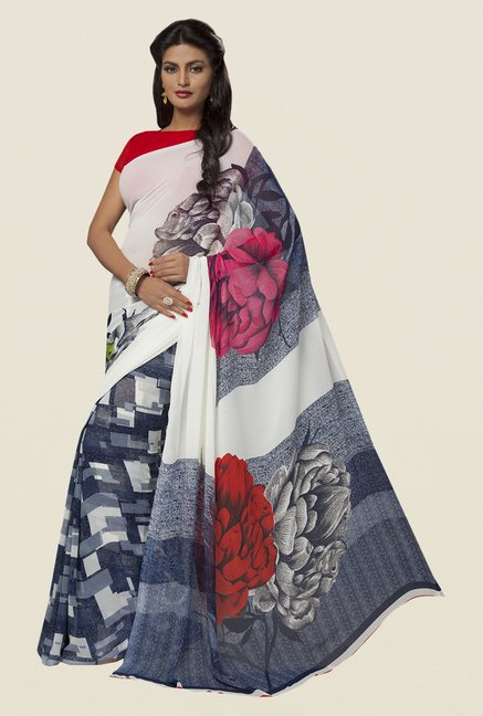 Ishin Blue & White Faux Georgette Floral Print Saree