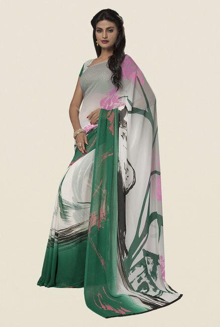 Ishin Off White & Green Faux Georgette Printed Saree