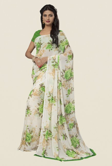 Ishin Off White Faux Georgette Floral Print Saree