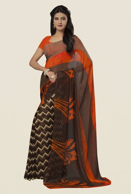 Ishin Brown & Orange Faux Georgette Printed Saree