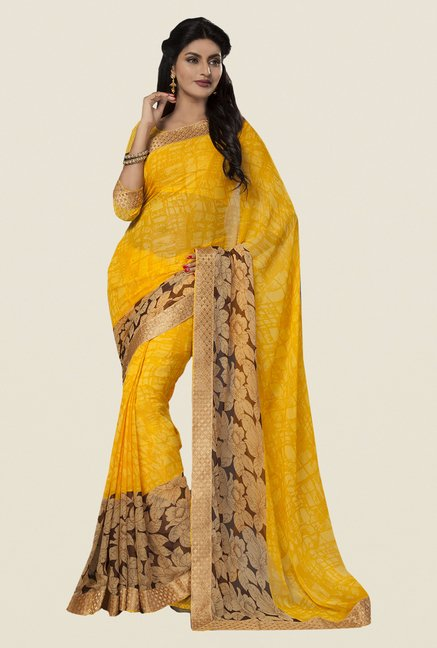 Ishin Yellow Faux Georgette Floral Print Saree