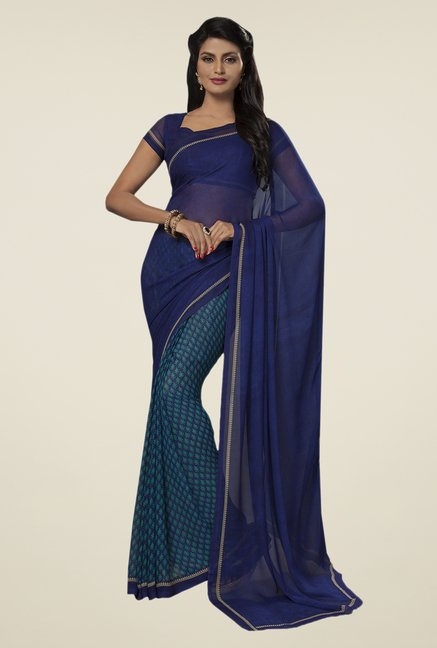 Ishin Blue Faux Georgette Printed Saree
