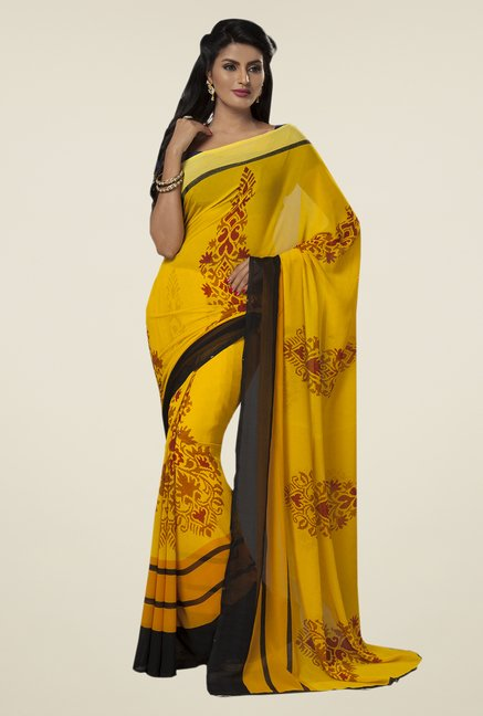 Ishin Yellow Faux Georgette Printed Saree