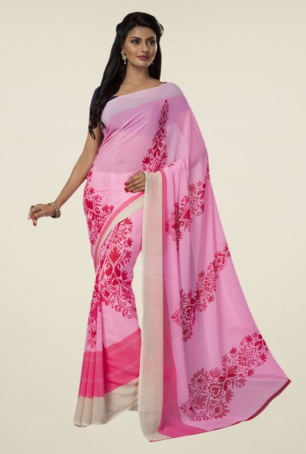 Ishin Pink Faux Georgette Printed Saree