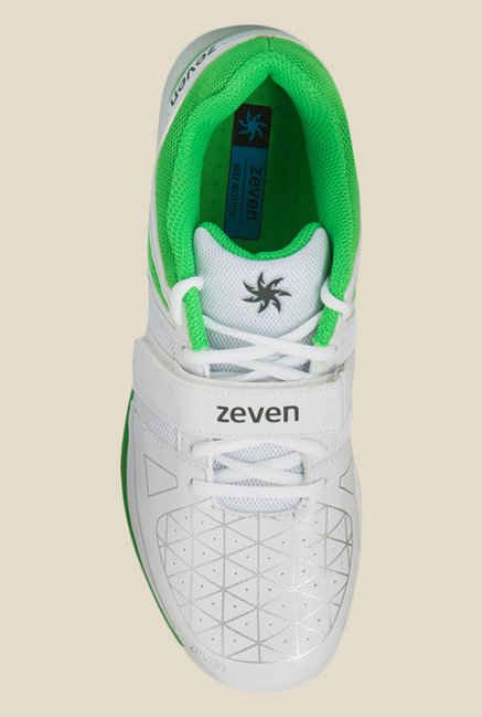 Zeven Crust 1.0 White & Green Cricket Shoes