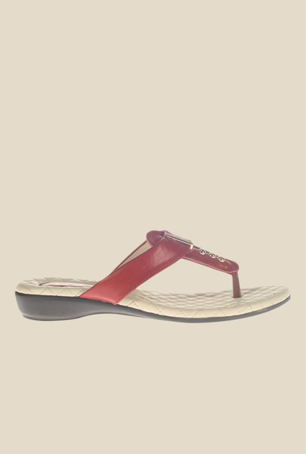 Khadim's Cherry T-Strap Wedges