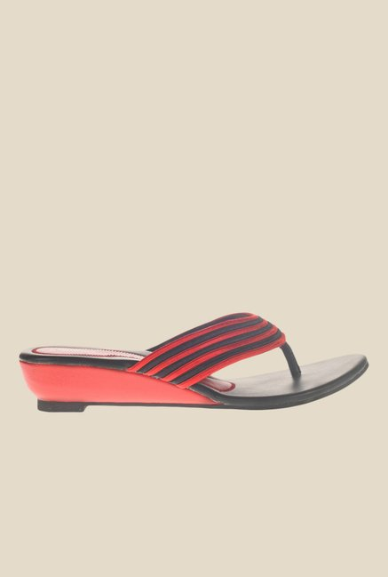 Khadim's Red & Black Wedge Heeled Thong Sandals