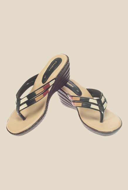 Khadim's Black Wedge Heeled Thong Sandals