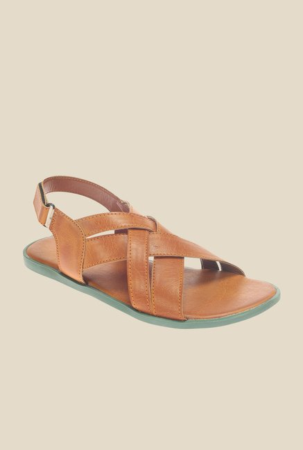 Khadim's Lazard Tan Back Strap Sandals