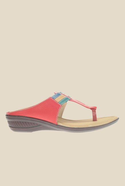 Khadim's Red T-Strap Wedges