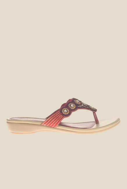 Khadim's Maroon Wedge Heeled Thong Sandals
