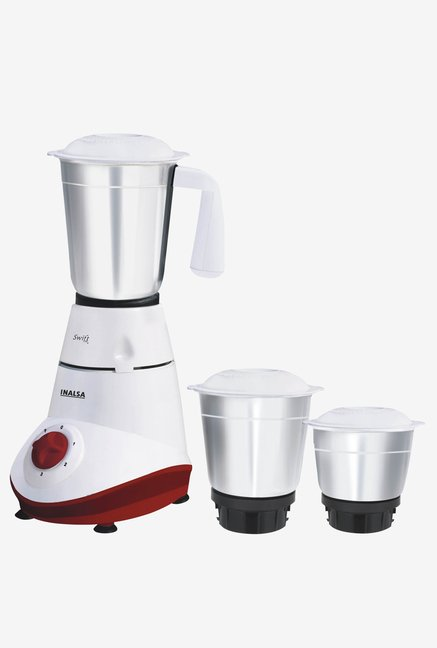 Inalsa Swift 500W 3 Jars Mixer Grinder (White and Red)