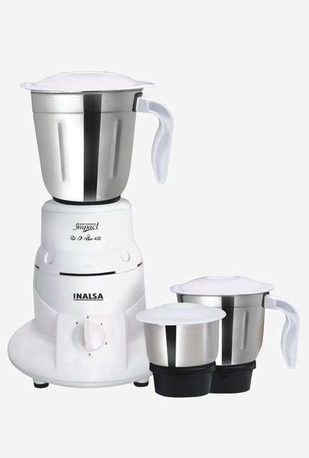 Inalsa Impact 550W 3 Jars Mixer Grinder (White)