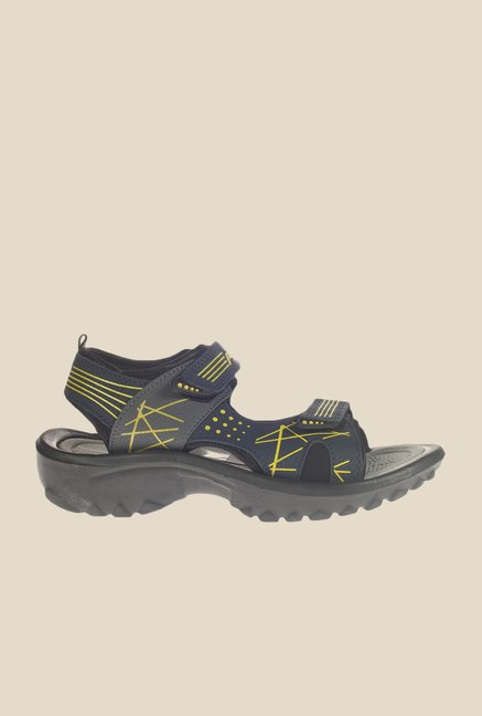 Khadim's Pro Navy & Yellow Floater Sandals