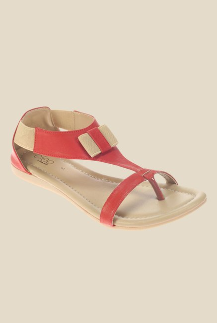 Khadim's Cleo Red & Beige Casual Sandals