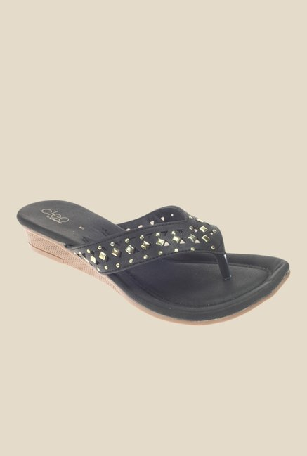 Khadim's Cleo Black Wedge Heeled Thong Sandals