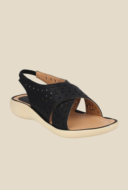 Shoetopia Black Sling Back Sandals