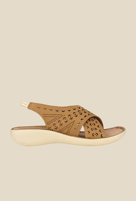Shoetopia Brown Sling Back Sandals