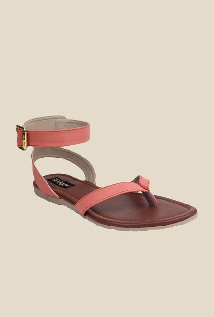 Shoetopia Peach Ankle Strap Sandals