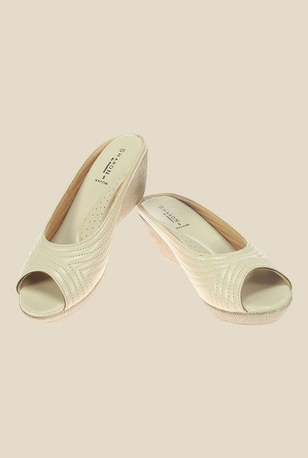 Khadim's Sharon Ivory Wedge Heeled Sandals
