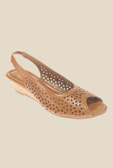 Khadim's Sharon Brown Sling Back Wedges