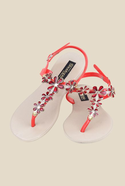 Shoetopia Red Back Strap Sandals