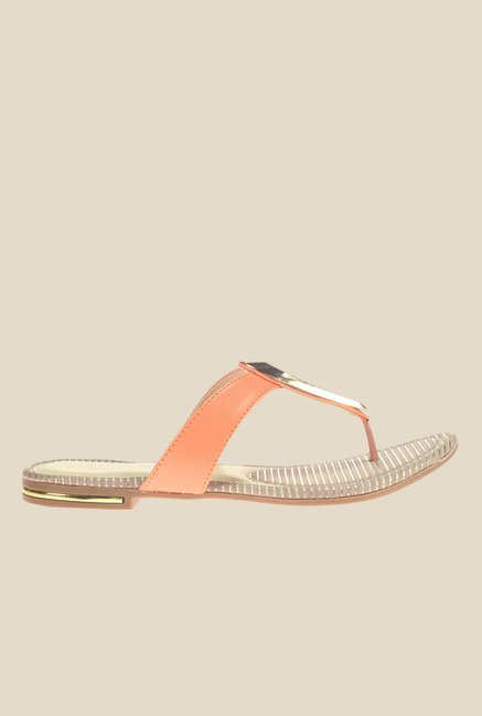 Khadim's Cleo Orange & Golden T-Strap Sandals