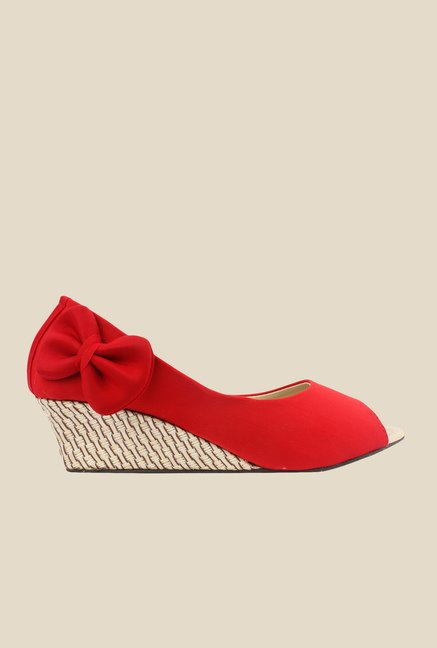 Shoetopia Red Peeptoe Wedges