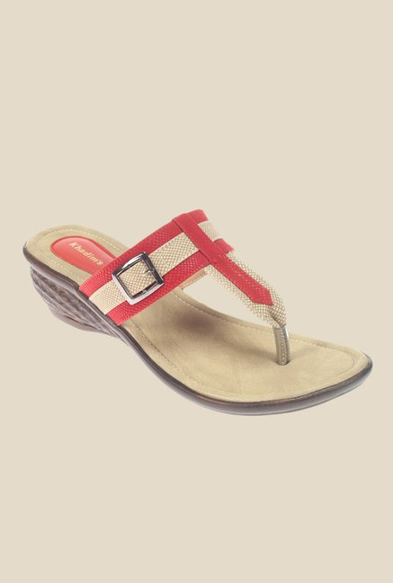 Khadim's Red & Beige T-Strap Wedges