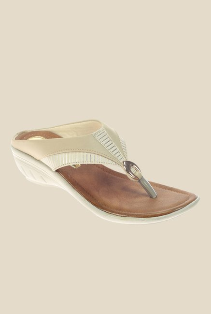 Khadim's Cleo Ivory Wedge Heeled Thong Sandals