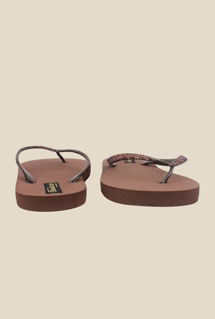 Shoetopia Brown Flip Flops