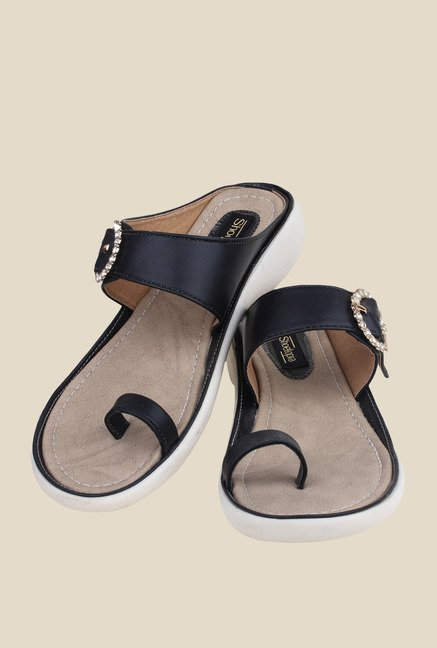 Shoetopia Black Toe Ring Wedges