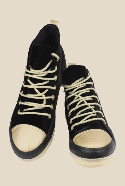 Shoetopia Black & Golden Sneakers