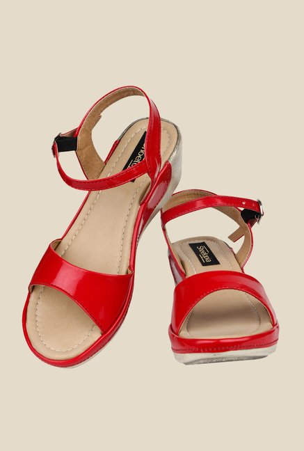 Shoetopia Red Ankle Strap Wedges