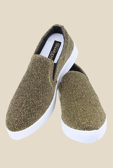 Shoetopia Golden & White Plimsolls