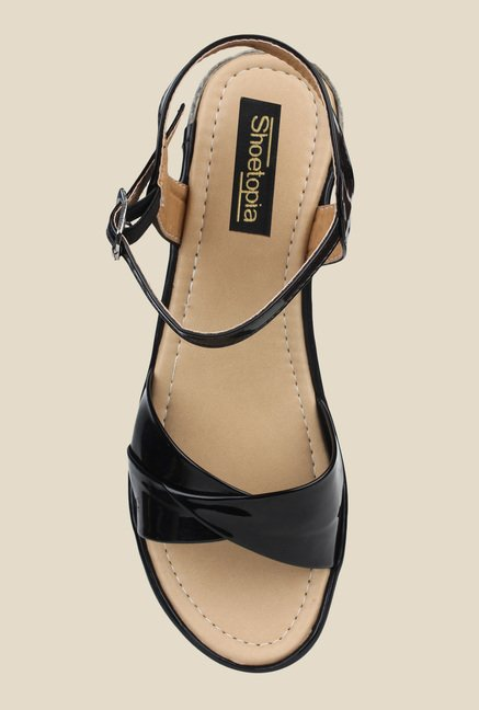Shoetopia Black Ankle Strap Wedges