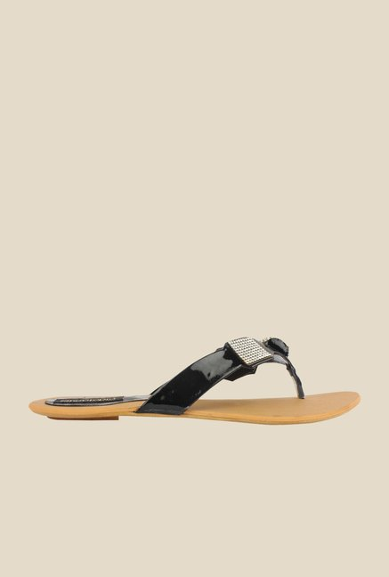 Shoetopia Black Thong Sandals