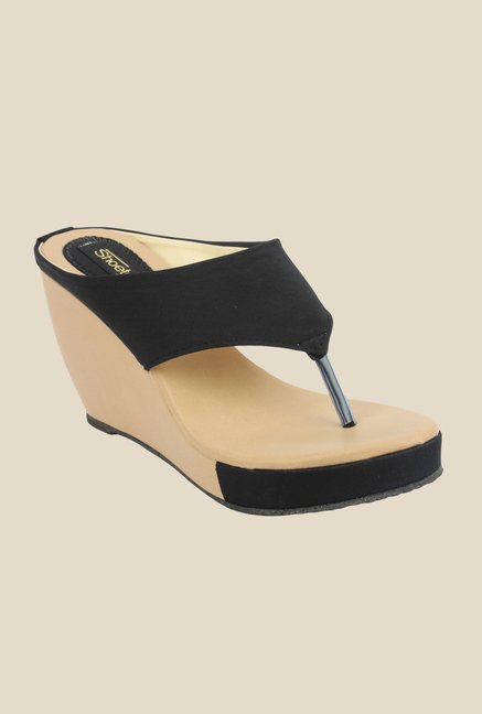 Shoetopia Black Wedge Heeled Thong Sandals