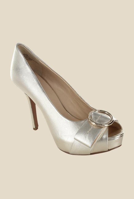 Nine West Gold Peeptoe Stilettos
