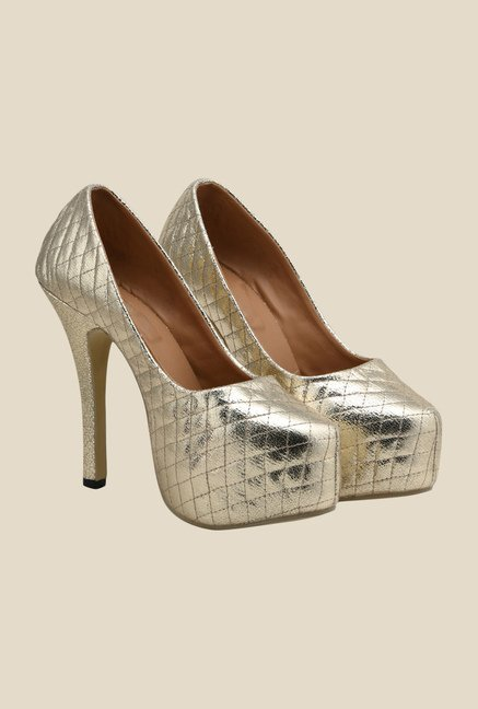 Bruno Manetti Golden Stiletto Heeled Pumps