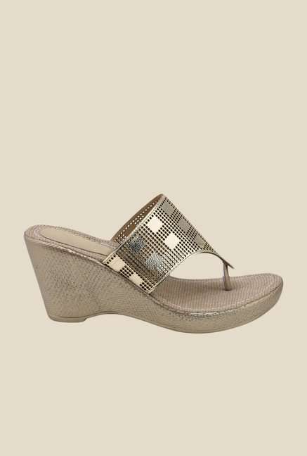 Bruno Manetti Golden Wedge Heeled Thong Sandals