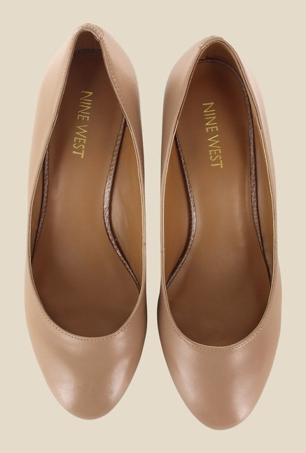 Nine West Nude Wedge Heeled Pumps