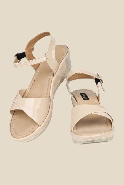 Shoetopia Cream Ankle Strap Wedges