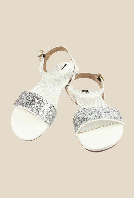 Shoetopia White Ankle Strap Sandals