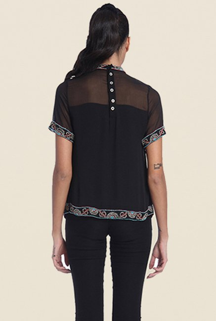 Ether Black Carnival Yoke Flare Embellished Top