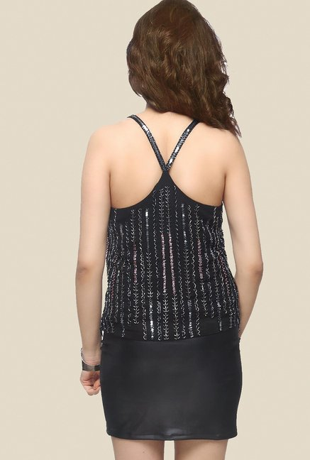 Ether Black Cosmos Racer Back Cami Top