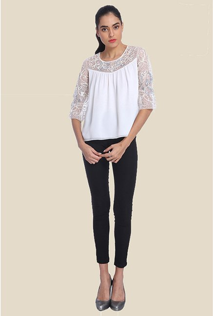 Ether White Snowflake Soutache Peasant Top