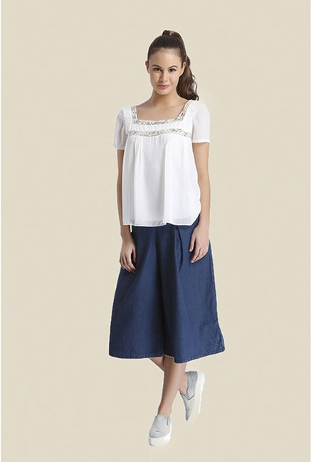 Ether White Neva Pintuck Peasant Top