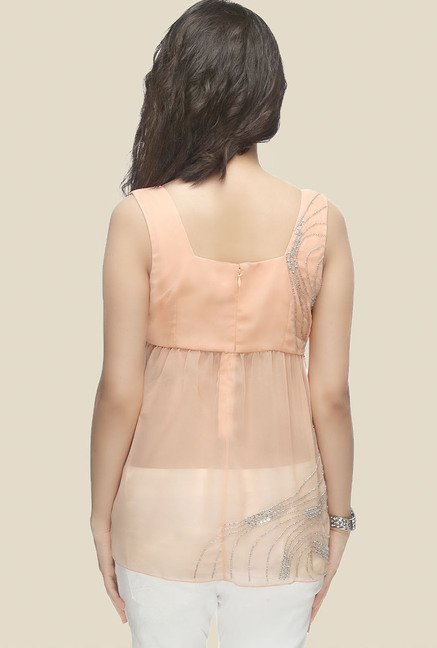 Ether Peach Winter Blush Yoke Flare Top